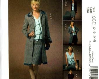 McCall's M4978 Non Stop Wardrobe Suit Coat Jacket Flounce Front Top Skirt Pants Size 10 12 14 16  Uncut Sewing Pattern 2005
