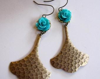Ginkgo Leaf Earrings, Hammerd Brass, Turquoise Blue Flower Earrings, Bohemian, Long Earrings, Vintage style, Gardendiva
