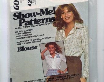 1970s Vintage Sewing Pattern McCalls 6002 Show Me Button Front Blouse Size 12 14 16 Bust 34 36 38 UNCUT 70s 1978