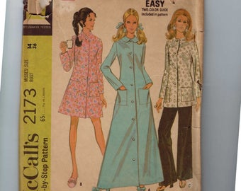 1960s Vintage Sewing Pattern McCalls 2173 Misses Robe and Lounge Jacket Pants Size 14 Bust 36 60s 1969