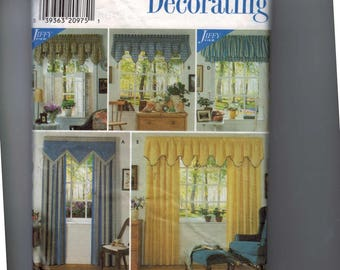 Craft Sewing Pattern Simplicity 7885 Window Treatments Curtains Window Shade Valance UNCUT