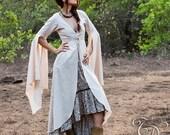 GODDESS LINEN COAT - Long jacket Kimono Kaftan Ceremony Hippie Boho Bohemian Faery Fairy Medieval Fantasy Gypsy Witch Plus size - Beige