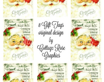 Jingle Bell Santa Gift tags greeting card sheet Large digital download  ECS buy 3 get one free