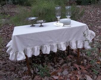 Custom Linen Tablecloth Ruffled Linen Tablecloth Ruffled Tablecloth White Linen Tablecloth Custom Tablecloth Home Living Custom Table Linens