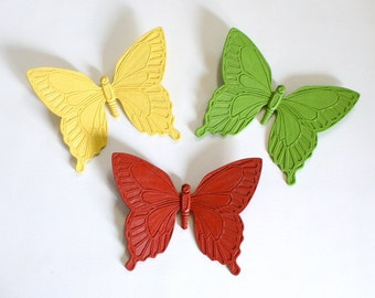 Group of Three Large Colorful Butterfly Wall Plaques by Syroco 1963