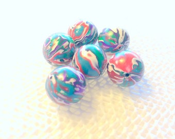 Marbled Bright Red Green Turquoise Handmade Polymer Clay 15 MM Beads Quantity 6