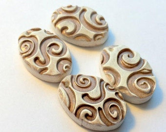 Faux Bone Antiqued Ivory Handmade Polymer Clay Swirl Oval Beads