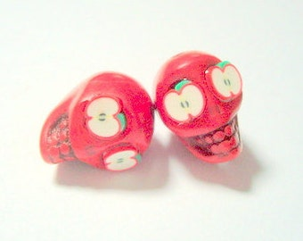 Apple of My Eye Red Day of The Dead Sugar Skull Beads-12mm