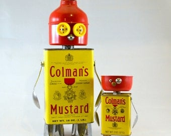 KEEPING IT COLMAN Like Father, Like Son - Assemblage Art Recycled Robot Sculptures