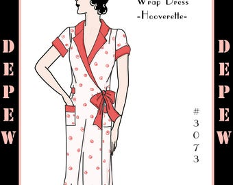 Multi Size Vintage Sewing Pattern Reproduction 1930's Ladies' Wrap Dress #3073 - INSTANT DOWNLOAD