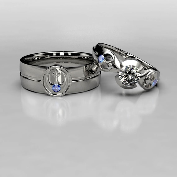 Star Wars Rebel Alliance Wedding Ring Set with Sapphire