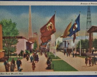 Postcard Avenue of Patriots New York World's Fair 1939 Postmark Linen