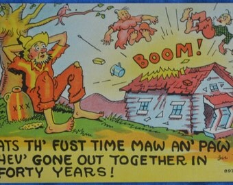 Postcard Exploding House Maw Paw Going Out Comic Hillbilly Linen Unused