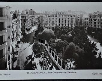 Postcard RPPC Casablanca Morocco Rue Chevender de Valdrome Aerial View