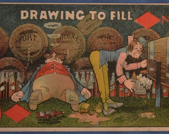 Postcard Comic Drawing to Fill Bar Drunk Drinking Humor Antique Unused