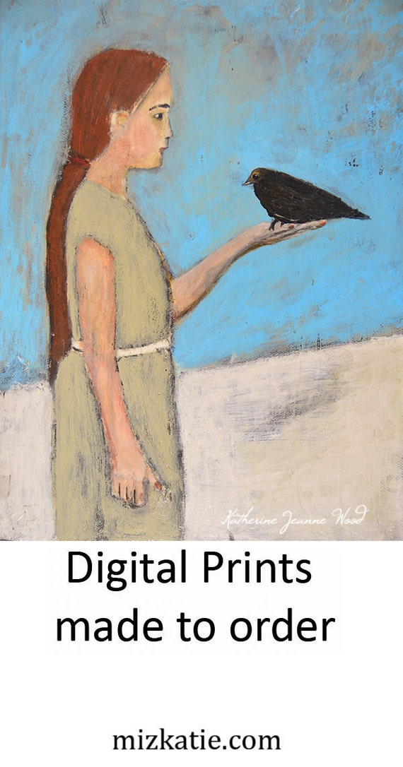 Girl & Bird Figure Painting Print. Wall Art Prints. Be Still Child. Child's Room Print. Children Wall Decor