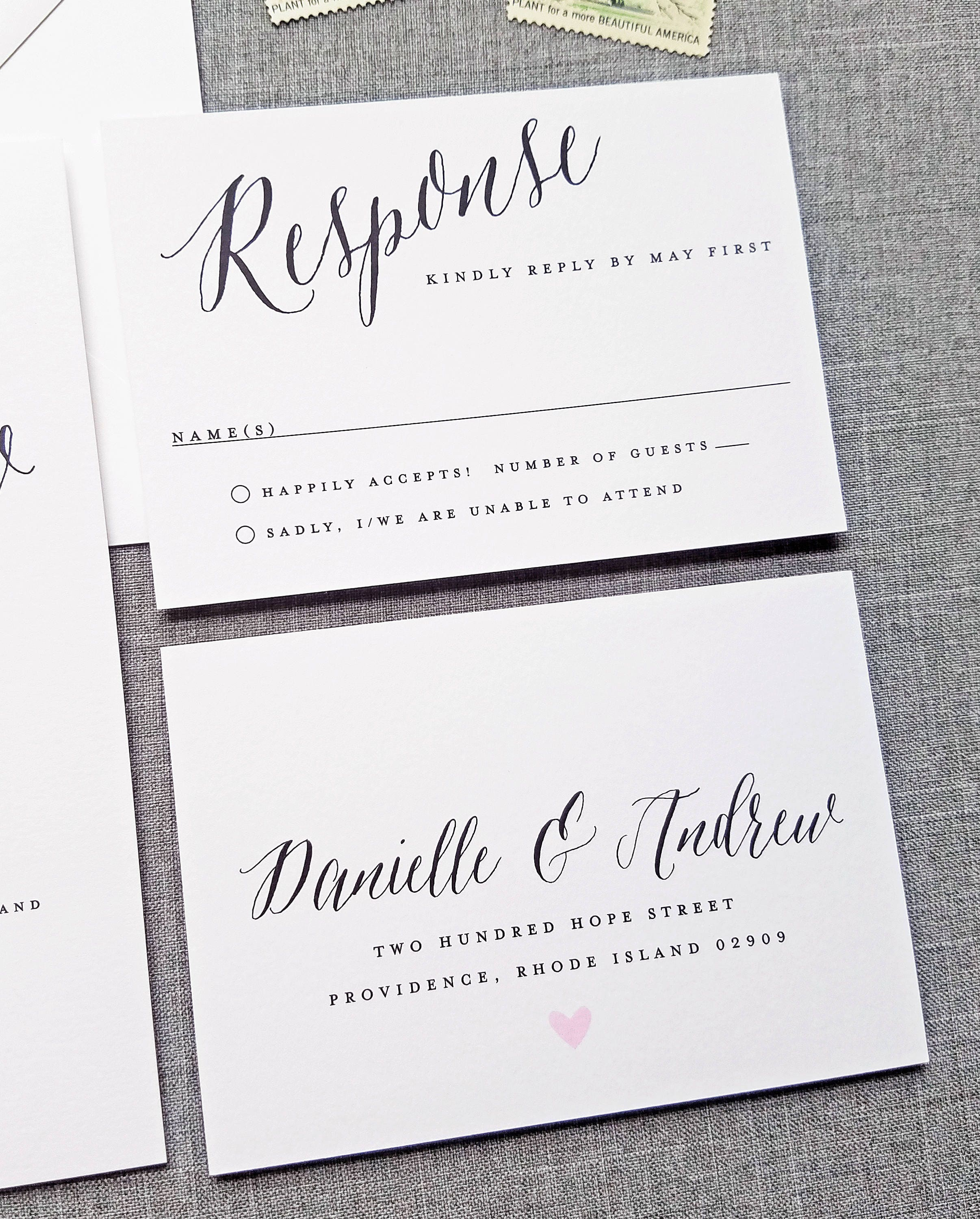Danielle Wedding Invitation Sample on White Card Stock with ...