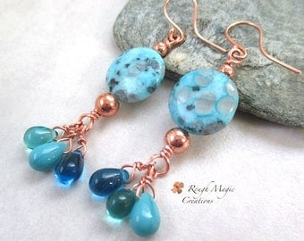Blue & Aqua Earrings, Copper Earring Wires, Extra Long Dangles, Boho Cluster Earrings, Jasper Gemstones, Colorful Glass Teardrop Drops E485