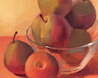 "Art painting small still life by Sarah Sedwick ""Seckel Pears"" 6x6"" framed"