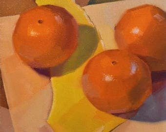 "Art painting still life by Sarah Sedwick ""Three Oranges (Yellow Scrap)"" 8x8"""