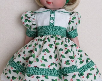 """Happy Hollydays Dress and Hat for Ann Estelle and Her 10"""" Friends"""