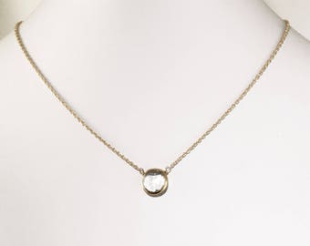 Clear Quartz Necklace Quartz Genstone Necklace 18k Gold Bezel Genuine Quartz Necklace April Birthstone Quartz Jewelry BZ-P-105-Qtz/g