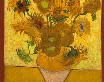 Van Gogh Sunflower Digital Kaufman Fabric Panel