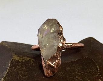 Angel Aura Quartz Ring Electroformed - Copper Electroformed Ring - Boho Jewelry - Raw Crystal Jewelry