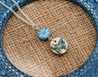 Blue Flower Butterfly Necklace, Flower Necklace, Butterfly Pendant