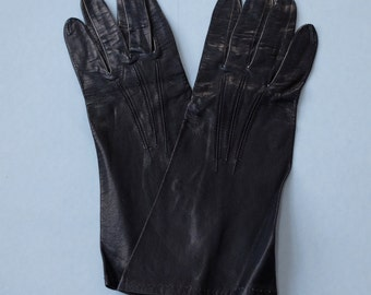 Lady Bacmo Black Leather Gloves Vintage 60s