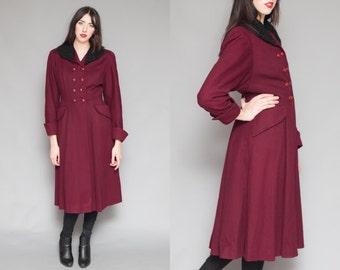 Vintage 50s Marshall Fields Burgundy Princess Pea Coat w/ Shearling collar // Faux Fur // S M