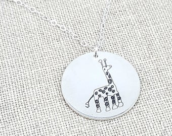 Mother's Day Personalized Your Childs Art Gift - Kids Drawing Necklace - Mom - Personalized Gift - Personalized Jewelry - Custom Handwriting
