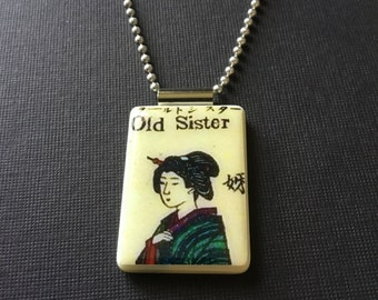 Japanese jewelry, Old Sister necklace, Asian-Style pendant, Japanese necklace, gift for sister, mahjong tile jewelry, handmade mahjong tile