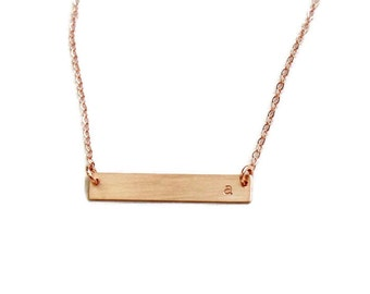 Rose Gold Bar Necklace, Initial Necklace, Rose Gold Name Bar Necklace, Personalized Bar Necklace, Rose Gold Initial Bar Necklace Bridesmaids
