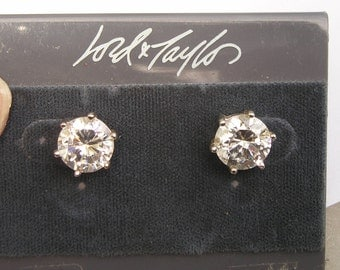 large 10mm Cubic Zirconia Round Post Earrings