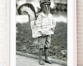 Skunk, Nursery Artwork, Woodland Animal, Forest Friends, Gift for New Mom, Baby Shower, Victorian Edwardian, Anthropomorphic, Creepy Cute
