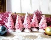 5 Pink bottle brush Christmas trees small pale pink glitter mica bristle brush trees Cottage Romantic Holiday Decor