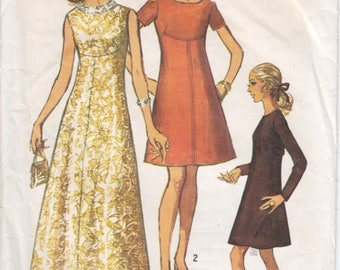 Vintage Pattern Simplicity 8498 Dress in Two Lengths 60s Size 16 B38