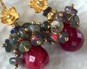 On Hold Black Opal Cluster Earring Ruby Earring