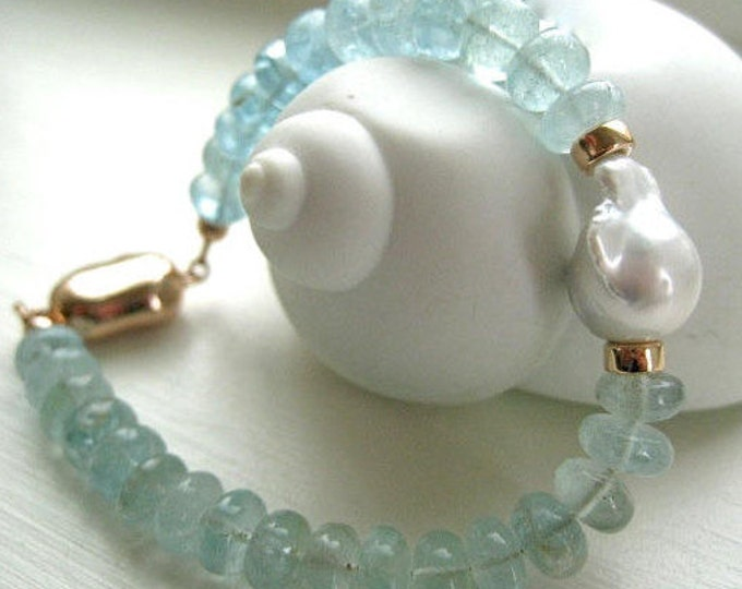 "Featured listing image: Aquamarine and Baroque Pearl Bracelet-Rose Gold Vermeil and Aquamarine-""Cloud Nine"""