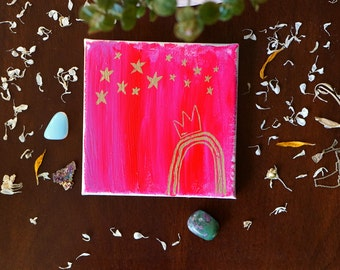 "Metallic Gold & Fluorescent Pink Painting on Canvas, Rainbow Gifts, Iridescent Stars Crown Art Gift for Her Hot Pink Small Wall Art 5""x5"""