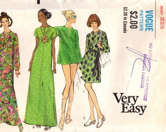 1970s Vogue 7836 Vintage Sewing Pattern Misses Beach Coverup, A-line Dress, Evening Dress Size 10 Bust 32-1/2