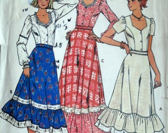 Vintage 80's Butterick 6086 Sewing Pattern, Young Junior/Teen Blouse & Skirt, Size 5/6, Bust 28, Boho Style 1980's Pattern