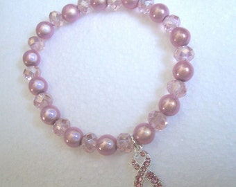 Pink Crystal/Miracle Bead Stretch Bracelet - Breast Cancer Awareness