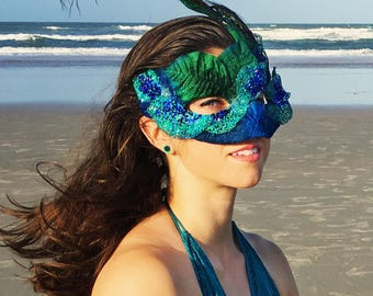 Peacock Mask, Masquerade, Masked Ball, Labyrinth mask, Peacock Feathers, Blue, Green, Turqoise, Woodland Mask, Mermaid Mask, Faerie Mask