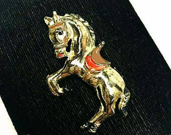 Vintage Dancing Horse Brooch / 1930s 1940s Riveted Hinge / 30s 40s Open C Clasp / Gold Tone Metal Pin / Antique Horse Red Saddle
