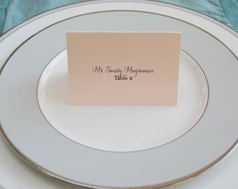Blush Pink Wedding Place Cards | Escort Cards | Romantic Place Card | Jessica & Jeffrey