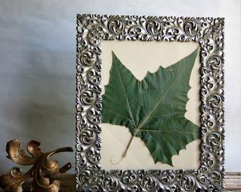 Vintage Metal Picture Frame Silvertone Stylized Leaf Design Tabletop or Wall Display