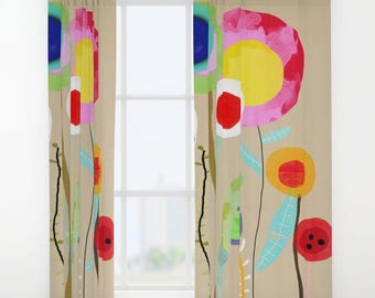 Window Curtains - Rainbow Flowers