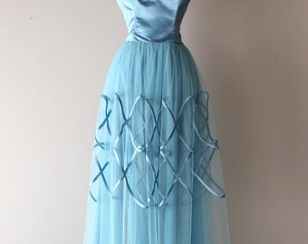 "Vintage 1950's Blue Prom Dress ~ Vintage 50s Satin Rings Light Blue Strapless Prom Gown Waist 28"""